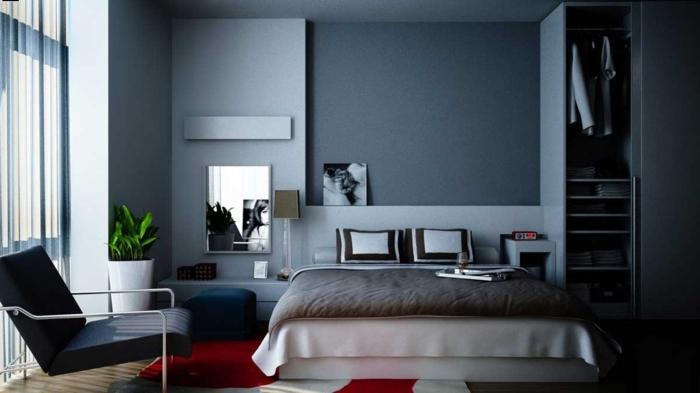 deco-chambre-grise-chambre-noir-et-blanc-miroir-lit-coussin