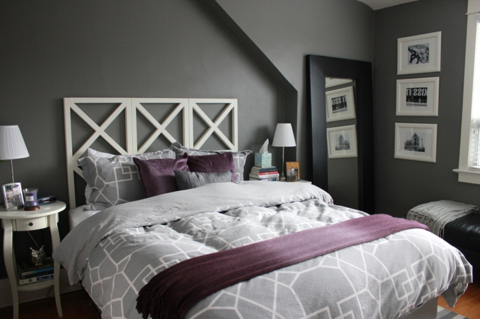 la chambre grise 40 id es pour la d co. Black Bedroom Furniture Sets. Home Design Ideas