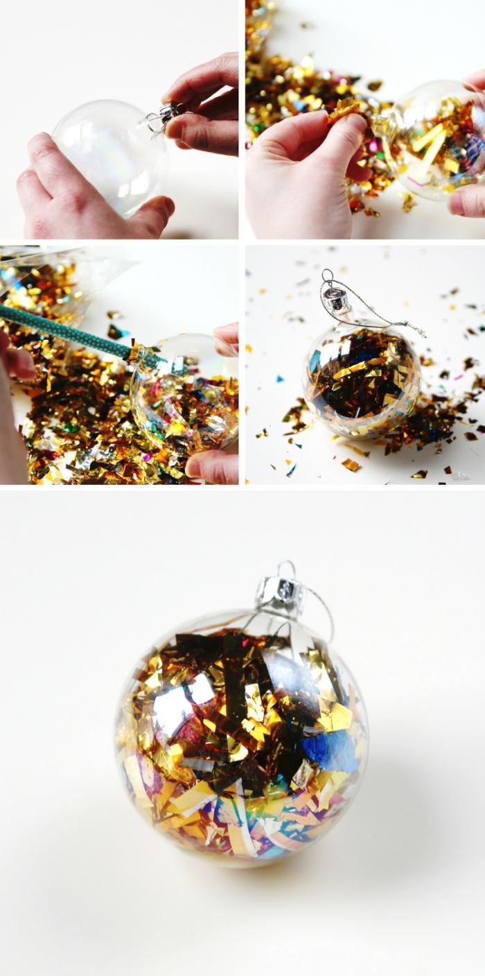 tutoriel facile pour personnaliser un ornement de sapin avec feuilles d'or, idée deco boule de noel avec morceaux en papier doré
