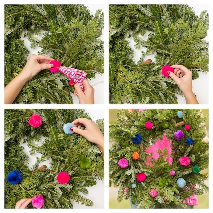 couronne de noel en branches de sapin décorés de pompons colorés, décoration de noel à fabriquer pour adultes