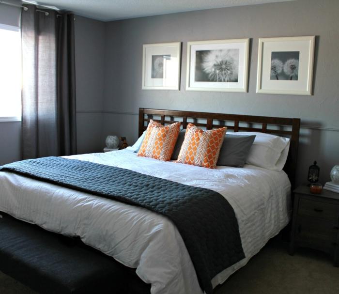 design-intérieur-chambre-à-coucher-gris-lit-coussinet-peinture-triptyque