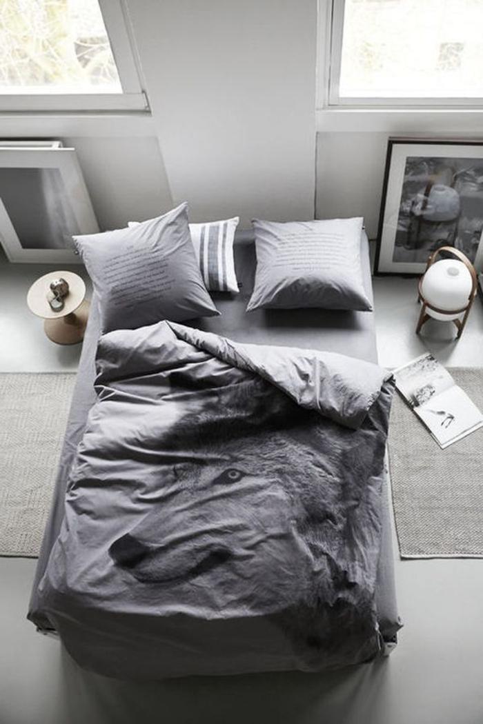 design-intérieur-chambre-à-coucher-gris-lit-peintures-tumblr