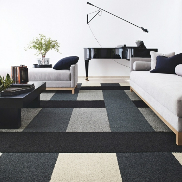 tapis de salon moderne 42 id es qui vont vous charmer. Black Bedroom Furniture Sets. Home Design Ideas