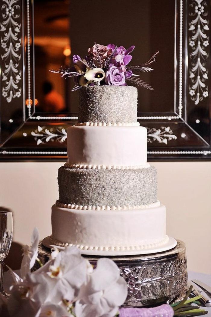 elegant-design-de-wedding-cake-gateau-de-mariage-pièce-montée-coux-mariage-blanc-et-gris