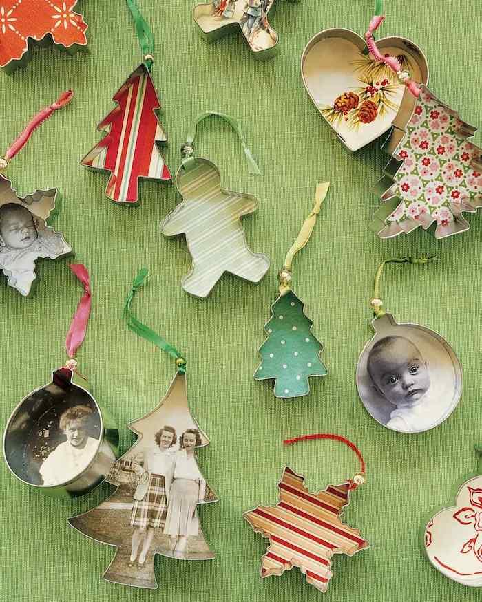 décoration de noel à fabriquer gratuite, recyclage emporte pièce avec papier scrapbooking et photos sur fond