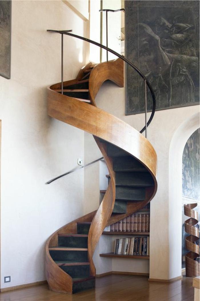 escalier-tournant-en-bois-pour-le-salon-moderne-sol-en-parquet-en-bois-foncé