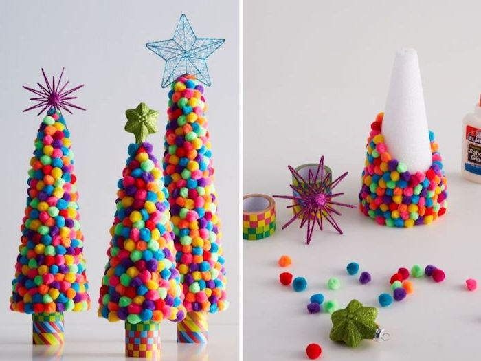 bricolage de noel facile pour creer une jolie decoration de noel et cônes décorés de pompons colorés