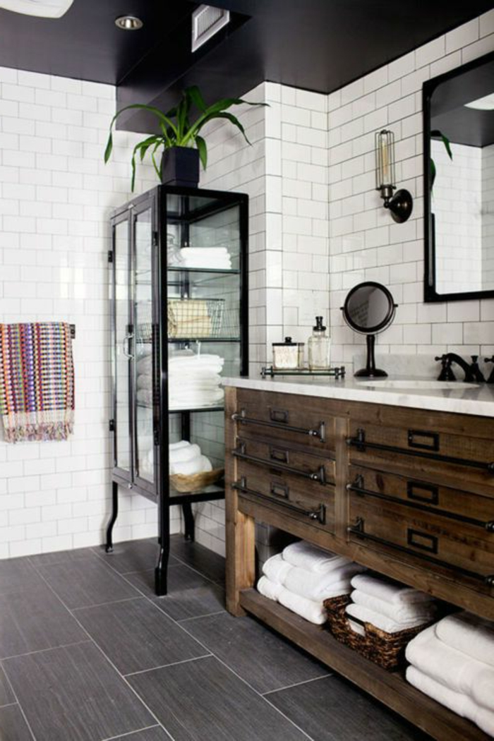 Vous cherchez des id es pour un carrelage noir et blanc - Meuble salle de bain noir et bois ...