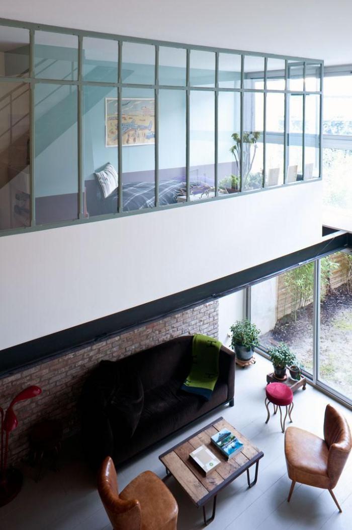 Faire Chambre Dans Studio Avec Baie : Le garde corps mezzanine jolies idées pour lofts avec