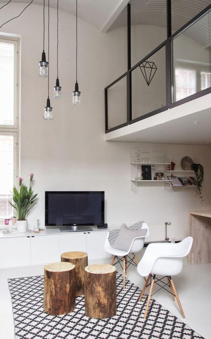 garde corps mezzanine, beau intérieur en blanc, déco scandinave