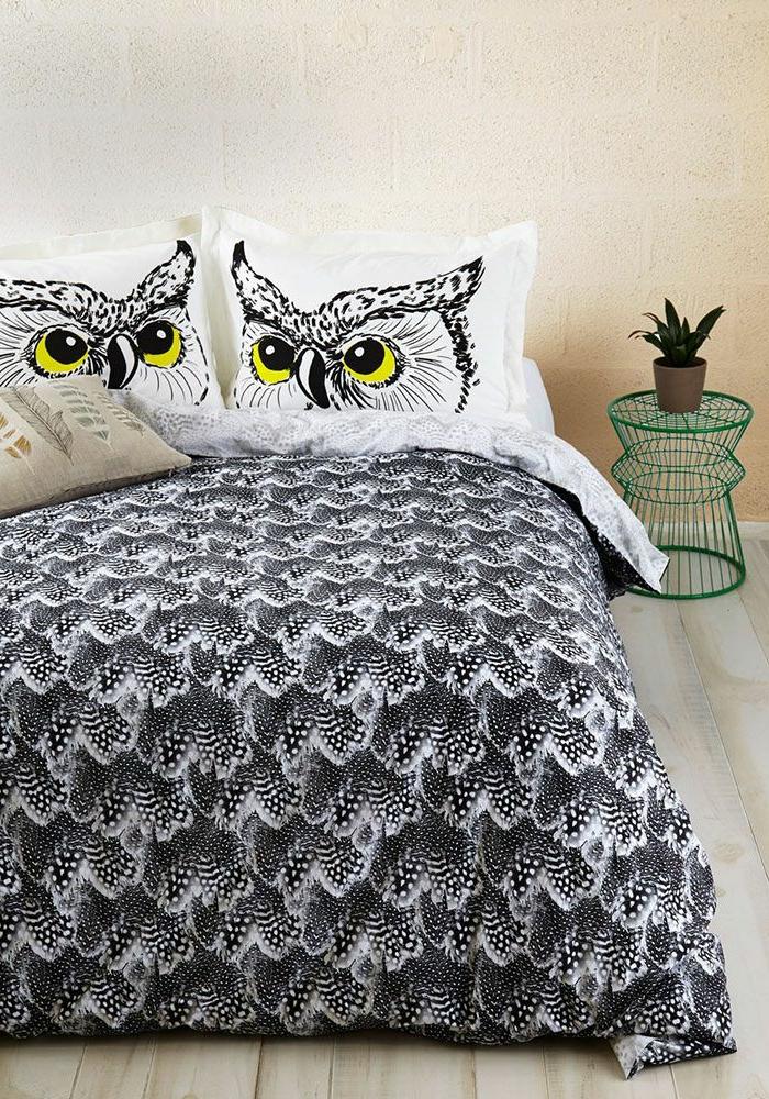 housse-de-couette-bicolore-chamber-à-coucher-hibou