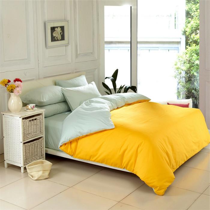 housse-de-couette-bicolore-chamber-à-coucher-jaune