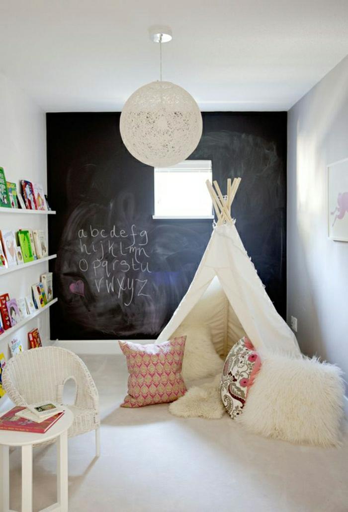idée-belle-tipi-diy-pour-enfant-tipi-enfants-idée-intérieur-jouer-dans-la-chambre-ardoise-murale