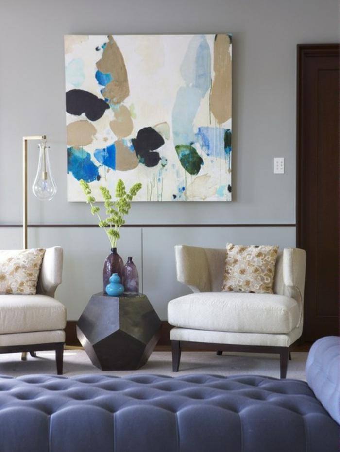 Idee peinture salon bleu for Peinture salon bleu vintage