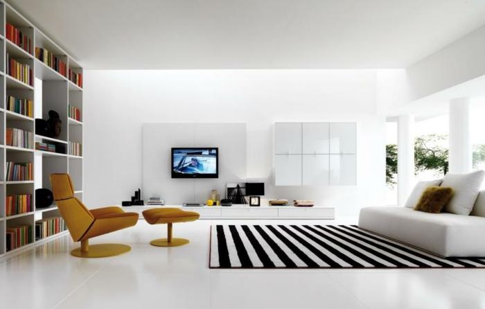 idée-quel-tapis-moderne-pour-salon-choisir-intérieur-blanc-vaste-chambre