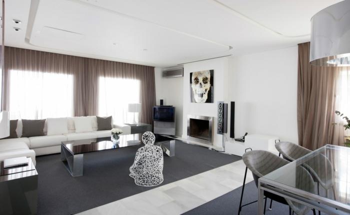idée-quel-tapis-moderne-pour-salon-choisir-intérieur-homme-sculpture-art-moderne