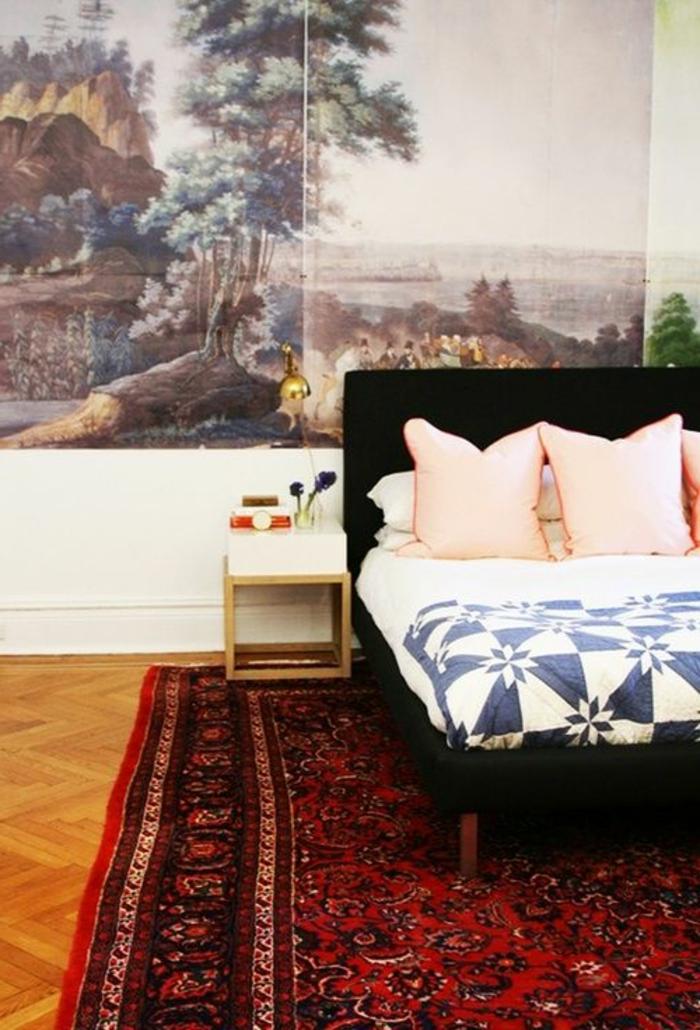 idée-tapis-chambre-fille-coloré-décoration -salle-chambre-à-coucher