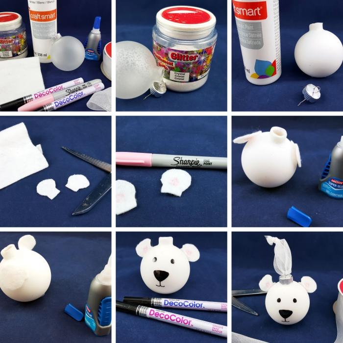 tuto deco noel facile à réaliser, fabriquer un ornement de Noël avec boule transparente décoré façon ours avec coton et marqueur noir