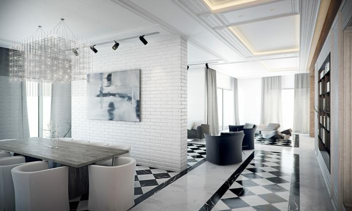 joli-appartement-d-esprit-loft-et-carrelage-damier-noir-et-blanc-mur-de-briques-blancs