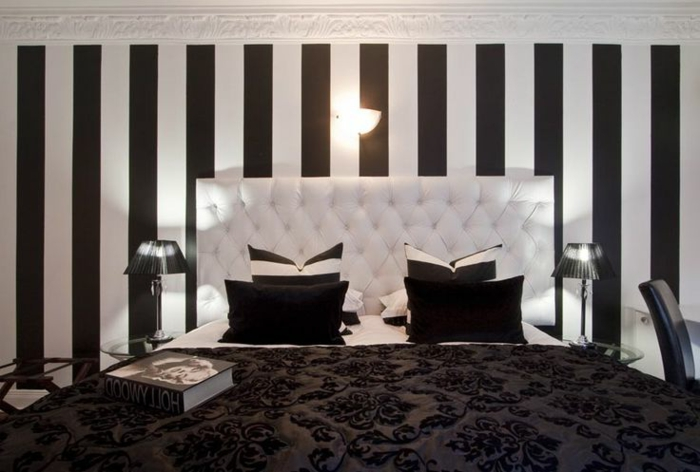papier peint raye noir et blanc. Black Bedroom Furniture Sets. Home Design Ideas