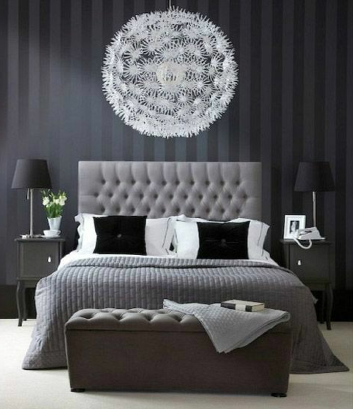 tete de lit grise. Black Bedroom Furniture Sets. Home Design Ideas