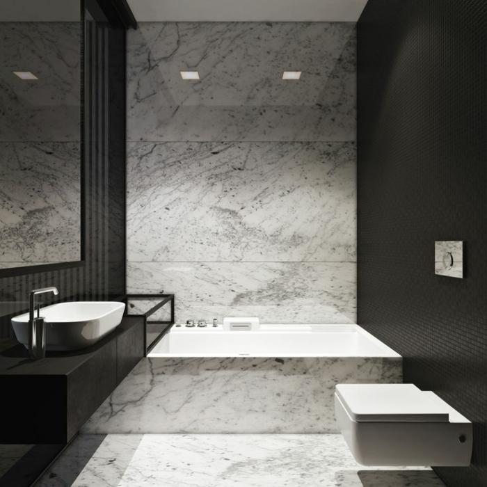 Beaucoup d 39 id es en photos pour la salle de bain en marbre for Salle de bain noir et blanche