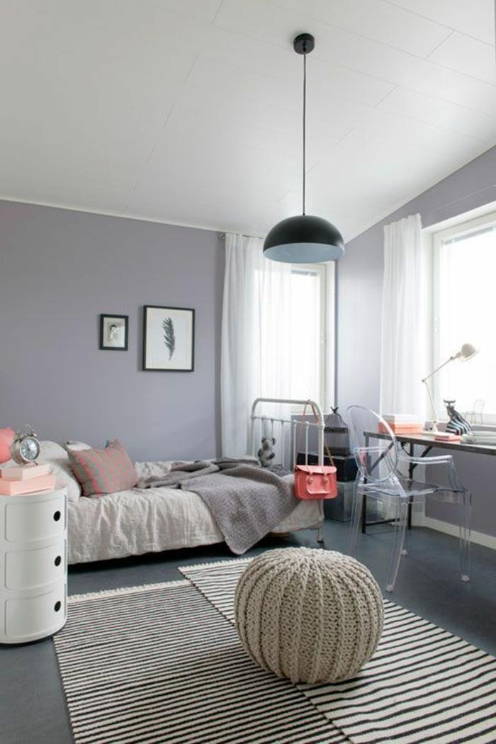 44 super id es pour la chambre de fille ado - Chambre mur gris ...