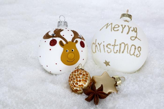 comment décorer une boule de noel en verre avec peinture et dessins à motifs Noël, ornement de sapin blanc avec lettres dorées