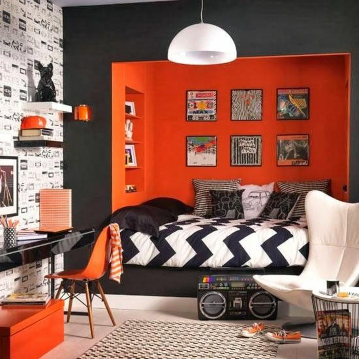 la-chambre-à-coucher-ado-idée-déco-chambre-orange-mur