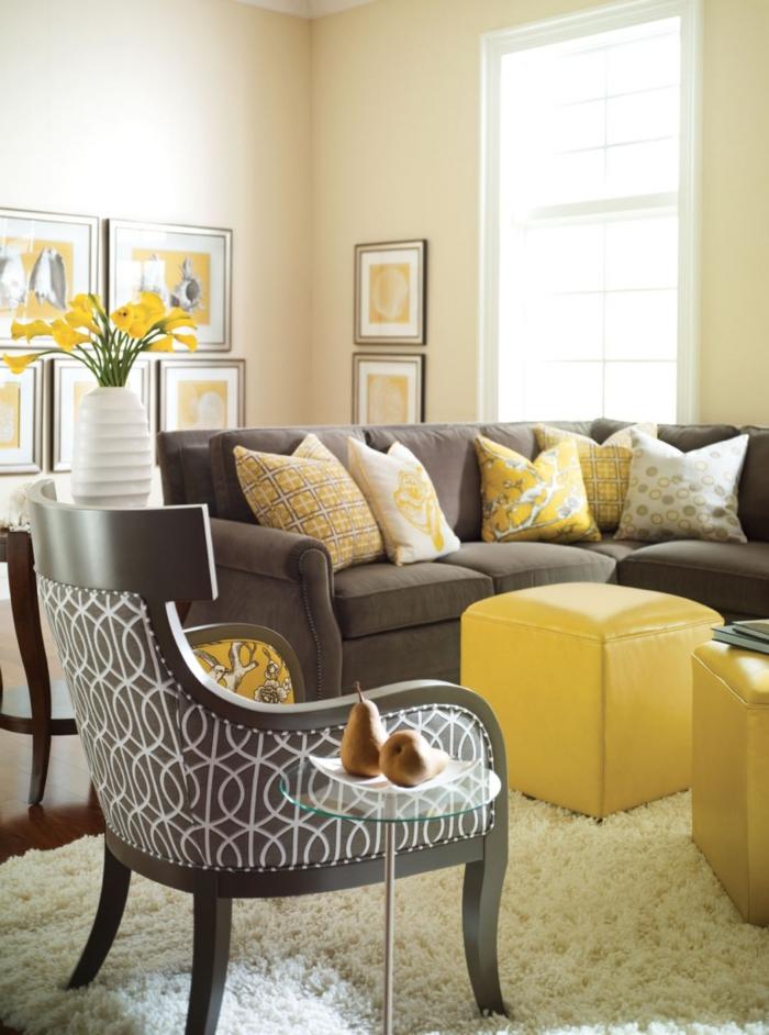La chambre grise 40 id es pour la d co - Deco salon jaune gris blanc ...