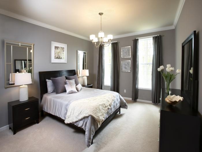 la chambre grise 40 id es pour la d co. Black Bedroom Furniture Sets. Home Design Ideas