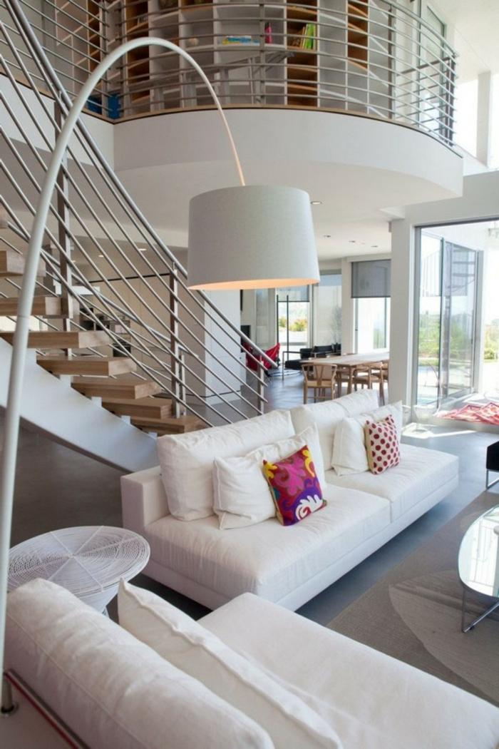lampadaire-pour-salon-design-idées-déco-salle-de-séjour-escaliers