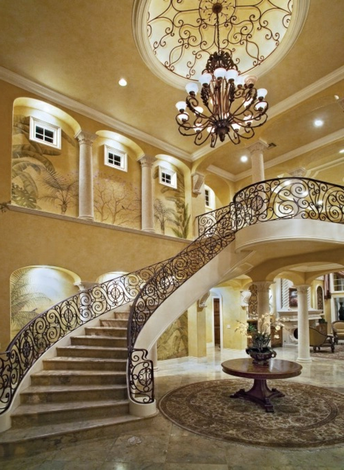 le-meilleure-escalier-tournant-avec-rambarde-en-fer-forgé-et-lustre-en-fer-escalier-tournant
