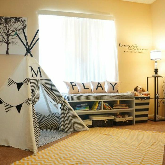 le-tipi-enfant-tente-de-lit-idée-intérieur-chambre-enfant-murs-jaunes