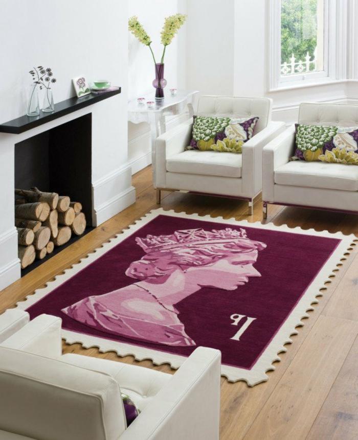 les-tapis-de-salon-moderne-idées-aménagement-salon-tapis-originale-en-rose