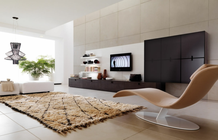 les-tapis-de-salon-moderne-idées-aménagement-salon-vue-de-salon