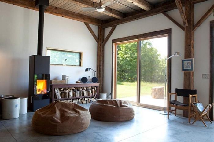 maison-design-d-intérieur-poêle-à-bois-salon-bien-aménagé-bois ...