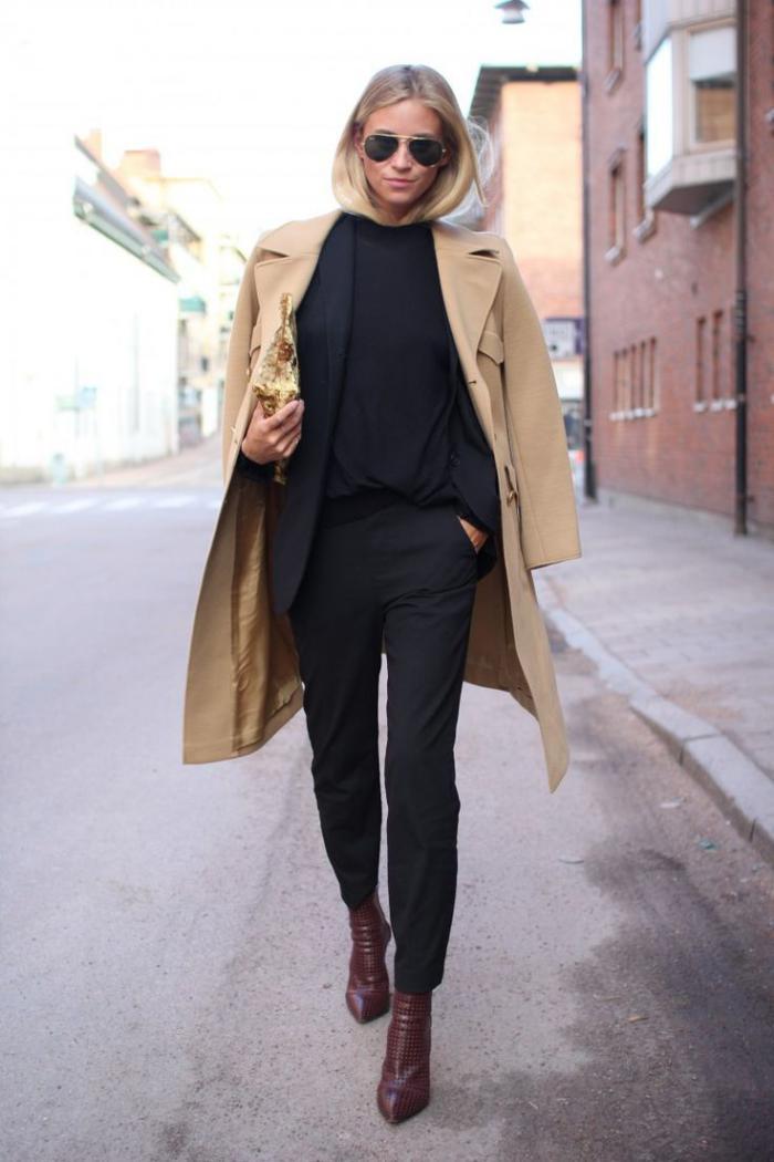 manteau-camel-et-tenue-noire-saison-automne-hiver