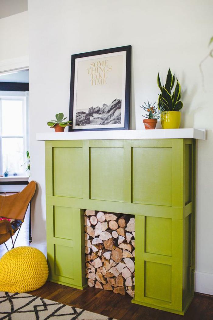 manteau-de-cheminée-cheminée-décorative-manteau-vert