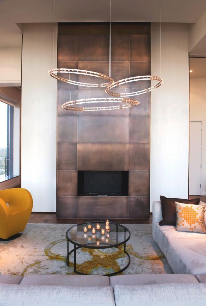 manteau-de-cheminée-manteau-métallique-contemporain-salon-merveilleux