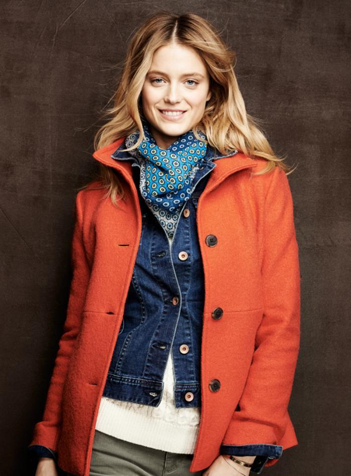 manteau-en-laine-bouillie-orange-coupe-courte-boutonnière