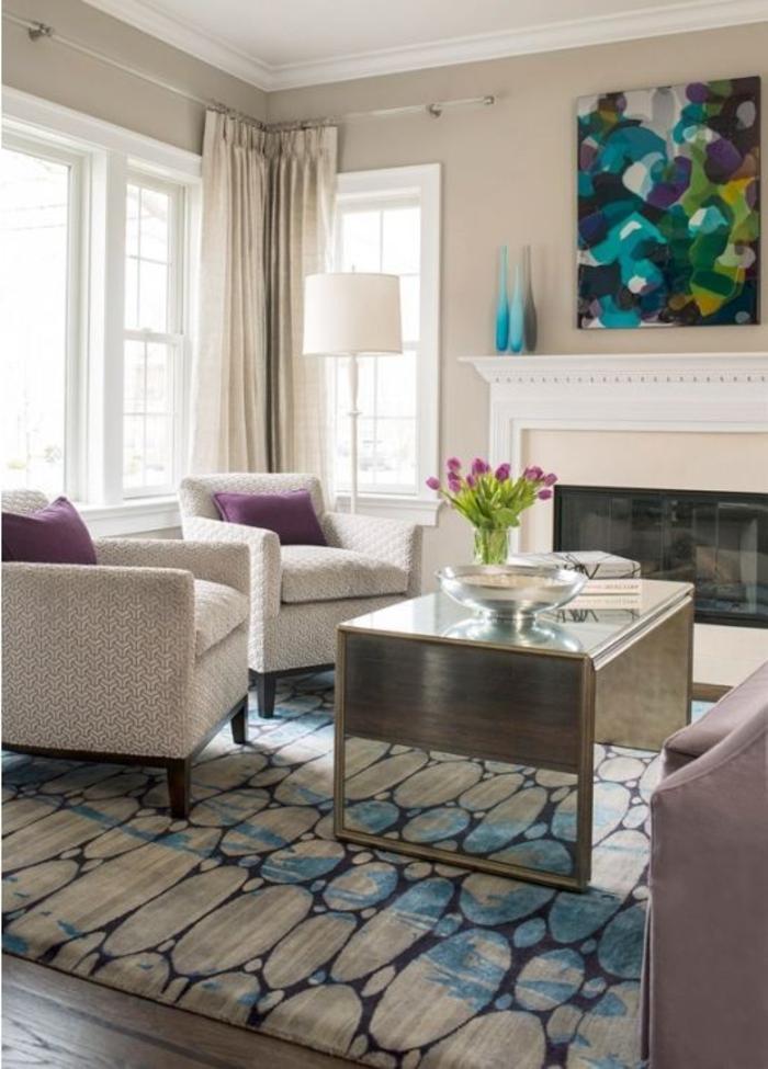 mauve-couleur-chambre-en-violet-design-d-intérieur-tapis-blanc-et-bleu