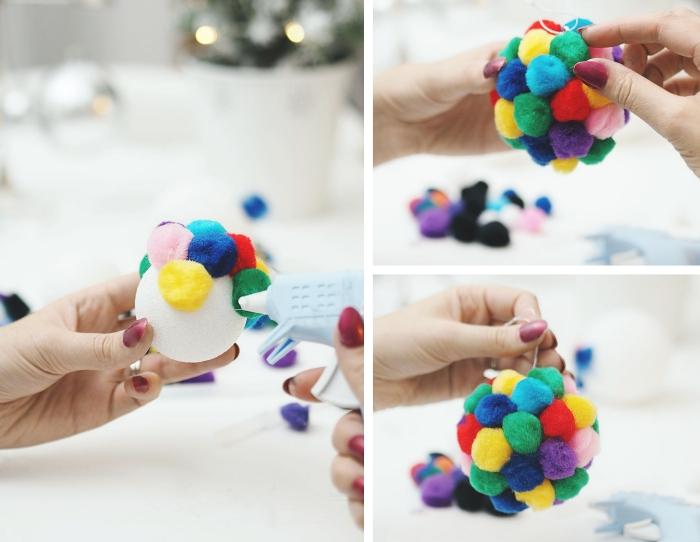 exemple de deco noel a fabriquer avec pompons, diy ornement de sapin avec boule blanche décorée de mini pompons