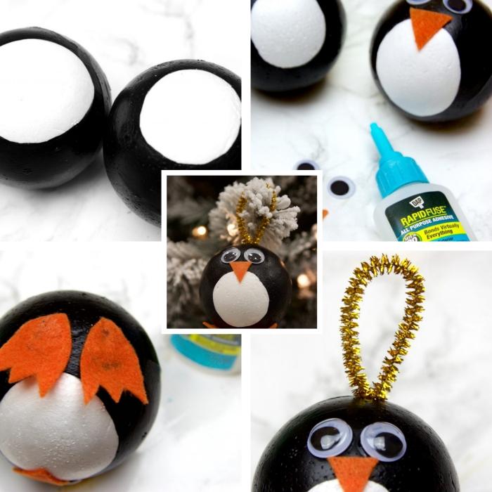 deco de noel a faire soi meme, comment fabriquer un jouet pour sapin en forme animalière facile, ornement de sapin à design pingouin