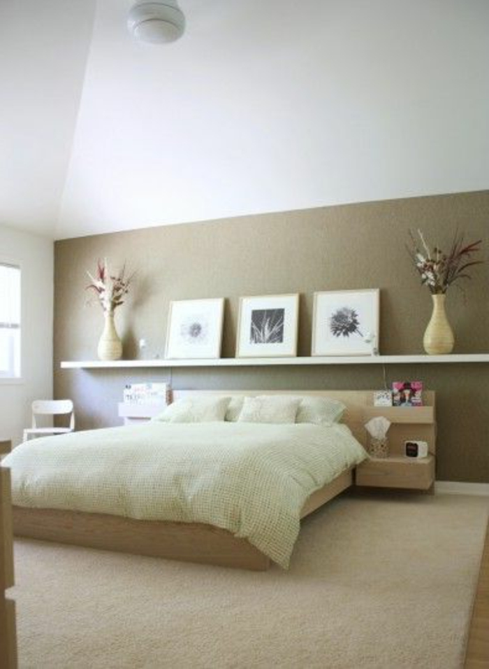 D co chambre mur beige for Decoration mur de chambre adulte