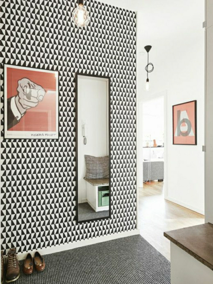 papier-peint-noir-et-blanc-mural-moquette-noir-et-gris-dans-le-couloir ...
