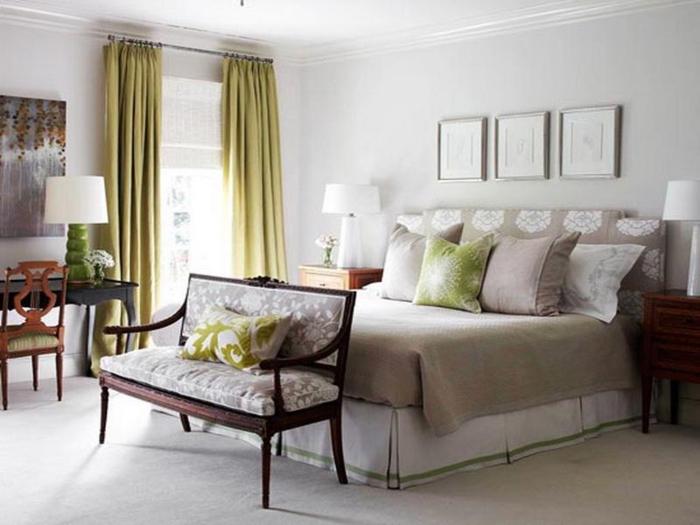 peinture-chambre-gris-chambre-taupe-idée-vert-cool
