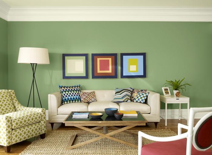 peinture-chambre-idées-peinture-salon-tableau-art-mur-vert