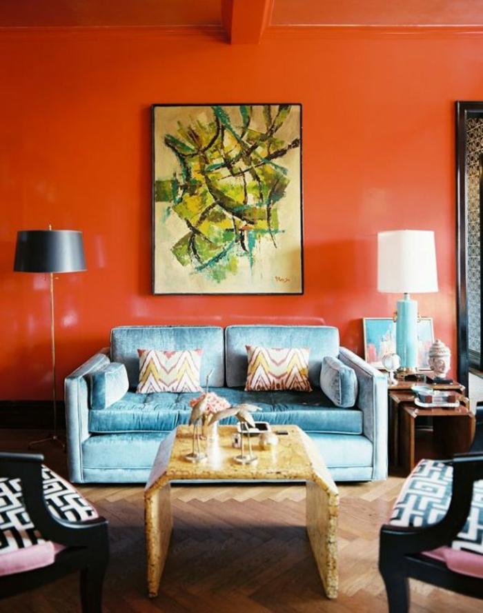 peinture-chambre-idées-peinture-salon-tableau-art-orange