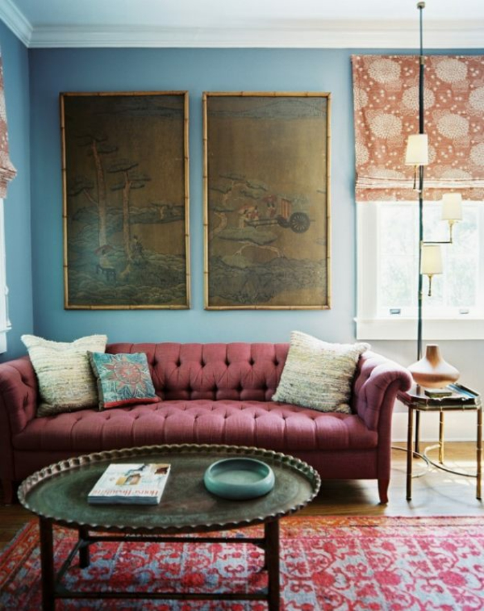 peinture-chambre-idées-peinture-salon-tableau-art-tapis-marocaine